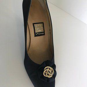 Nina - Navy Blue Satin Evening Pump Shoe
